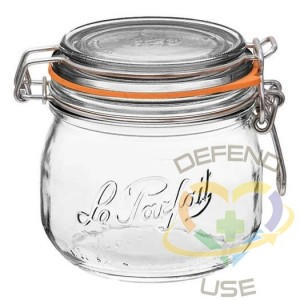 500ml Rounded French Glass Storage Jar WAirtight Rubber Sea, 18