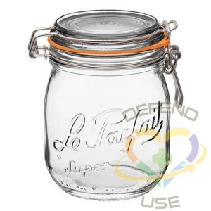 750ml Rounded French Glass Storage Jar WAirtight Rubber Seal, 12