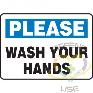 """ACCUFORM SIGNS, """"Wash Your Hands"""" Sign, 10"""" x 14"""", Aluminum, English, Display Type: Bolt-On, Subject:..."""