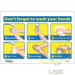 """""""Don't Forget to Wash Your Hands"""" Pictogram Sign, 7"""" x 10"""", Vinyl, English with Pictogram, Display Type:..."""