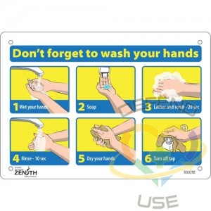 """""""Don't Forget to Wash Your Hands"""" Pictogram Sign, 7"""" x 10"""", Aluminum, English with Pictogram, Display Type:..."""