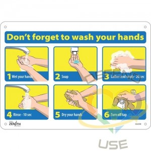 """""""Don't Forget to Wash Your Hands"""" Pictogram Sign, 10"""" x 14"""", Aluminum, English with Pictogram, Display..."""