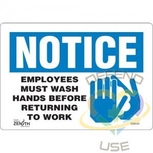 """""""Employees Must Wash Hands"""" Sign, 7"""" x 10"""", Vinyl, English with Pictogram"""