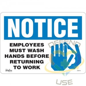 """""""Employees Must Wash Hands"""" Sign, 10"""" x 14"""", Vinyl, English with Pictogram"""
