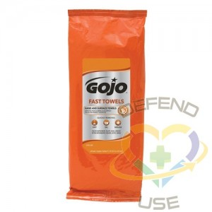 """GOJO, Fast Wipes Hand Cleaning Towels, 60 Wipes, 10"""" x 9"""", Packet"""