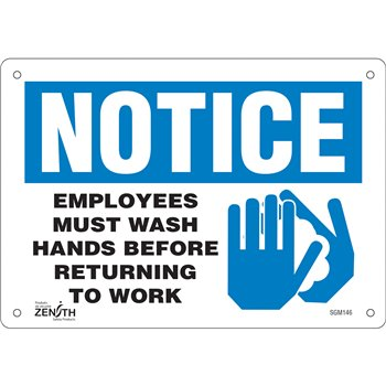 """SGM146   """"Employees Must Wash Hands"""" Pictogram Sign, 7"""" x 10"""", Bolt-On"""