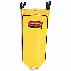Janitorial Cleaning Cart Vinyl Bag - 34G High Capacity - Yellow[9T80], 4/EA
