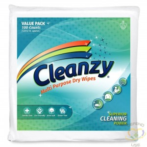Cleanzy Multipurpose Dry Cleaning Wipes - 100 Count Pack, Case of 8 - 1