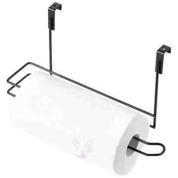 Over The Cabinet Paper Towel Holder, Black - 1