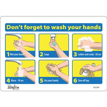 """SGU290   """"Don't Forget to Wash Your Hands"""" Pictogram Sign, 7"""" x 10"""""""