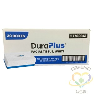 DuraPlus® Facial Tissue, 2-Ply, White, 30 Packs/Case, 100 Sheets/Pack, Made in Canada - 1