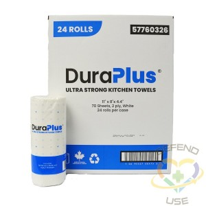 DuraPlus® Professional Kitchen Towel, 2-Ply, White, 24 Rolls/Case, 70 Sheets/Roll, Made in Canada - 1