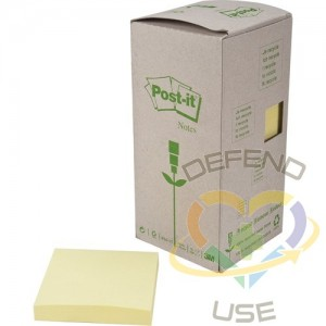 """Recycled Post-it Self-Adhesive Notepads, Paper Type: Recycled,Colour: Yellow,Width: 3"""",Length: 5"""""""