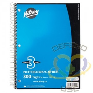 """3 Subject Spiral Notebook, Length: 10-1/2"""",Width: 8"""",Colour: Assorted Colours,No. of Pages: 300"""