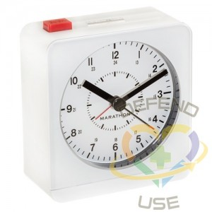 """Desk Alarm Clock, Analog, Battery Operated, 3.5"""" W x 1.5"""" D x 3.75"""" H, White"""