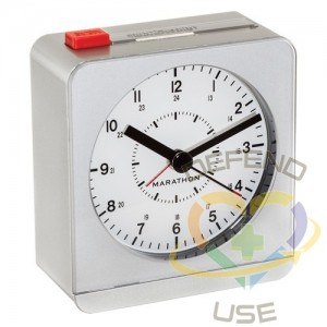 """Desk Alarm Clock, Analog, Battery Operated, 3.5"""" W x 1.5"""" D x 3.75"""" H, Silver"""