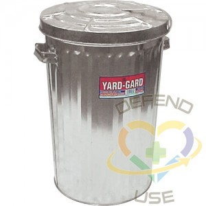 Garbage Cans, Galvanized Steel, 18 gal. US