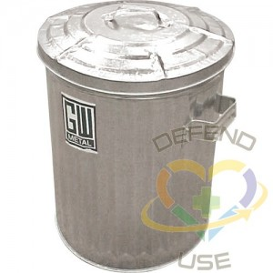 Garbage Cans, Galvanized Steel, 11 US gal.