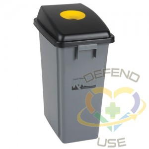 Recycling & Garbage Bin with Classification Lid, Plastic, 16 US gal.