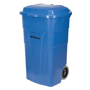 Roll Out Recycling Bin, Polyethylene, 65 US gal.