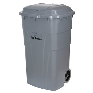 Roll Out Garbage Bin, Polyethylene, 65 US gal.