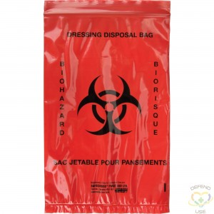 """SAFECROSS  Infectious Waste Bags, Infectious Waste, 9"""" L x 6"""" W, 25 /pkg. - 1"""