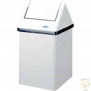 """FROST  Waste Containers, Metal, 11 US gal. Height: 26.75"""" Length: 14.75"""" Width: 13.5"""" Colour: White - 1"""