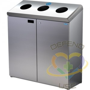 Floor Standing Recycling Station, Bulk, Stainless Steel, 42 gal., Length: 36-1/2
