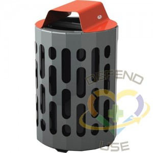 2020 Stingray Waste Receptacles, Metal, 42 US gal., Colour: Grey with Red Top