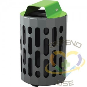 2020 Stingray Waste Receptacles, Metal, 42 US gal., Colour: Grey with Green Top