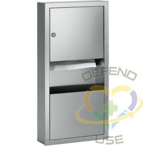 Combination Towel Dispenser with Waste Receptacle, Manual, 14  W x 4  D x 28  H