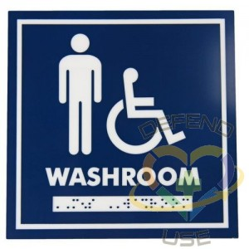 "Signage - 6x6"" Male Wheelchair w/Braille Washroom - 1"