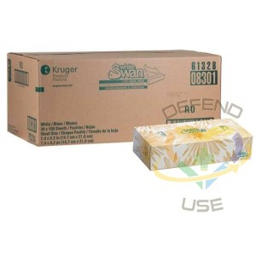 White Swan® Facial Tissue, 2-Ply, 30 Boxes/Case, 100 Sheets/Box - 1