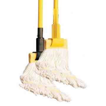 """Mop Handle - Jaws Fiberglass 60"""" Clamp Style - Yellow/Black 12 Per Pack, Price Per CS"""