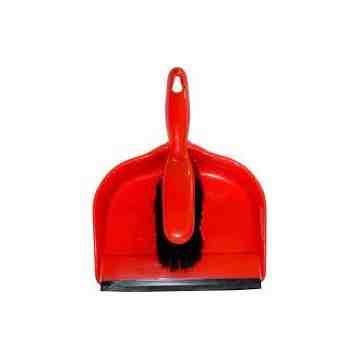 "Dust Pan 12"" w/Clip-on Brush - Red 24 Per Pack, Price Per CS"