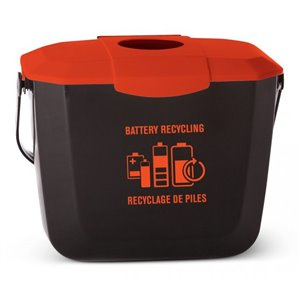 Battery Collection Bin - Black/Red 22 Per Pack, Price Per EA