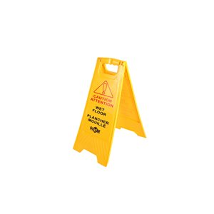 """Safety Sign """"Caution Wet Floor"""" 25"""" English/French - Yellow 10 Per Pack, Price Per EA"""