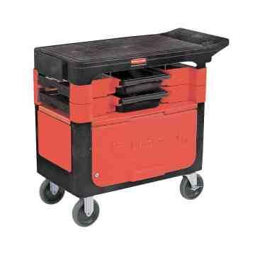 Trades Cart w/2 Boxes/4 Bins/Locking Cabinet - Black, 1/EA