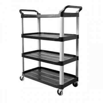 X-tra 4 Shelf Cart - 300 lb - Black, 1/EA