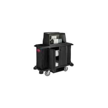X-Tra Full Housekeeping cart w/doors, vinyl bag, bumpers, vacuum holder, under deck shelf and security hood, 1/EA