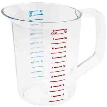 Bouncer Measuring Cup 2qt/1.9L - Clear, 6/EA