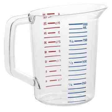 Bouncer Measuring Cup 1qt/0.9L - Clear, 6/EA