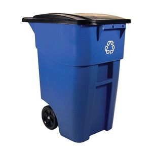 Brute Rollout Container 50G w/Recycling - Blue, 2/EA