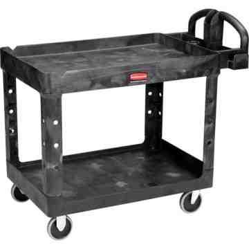 "HD Utility Cart-LG 24""x46""-2 Shelf/Pneumtic Castr-Black, 1/EA"