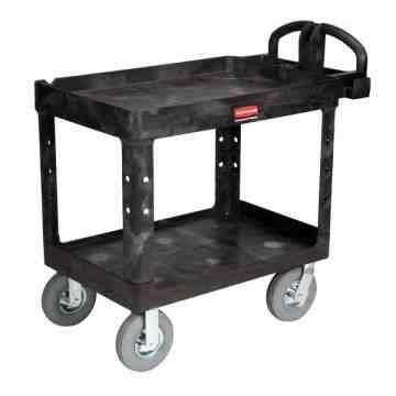 "HD Utility Cart-LG 24""x36""-2 Shelf/Pneumtic Castr-Black, 1/EA"