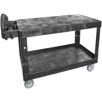 "HD Utility Cart - XLarge 24""x46"" - Flat Shelf - Black, 1/EA"