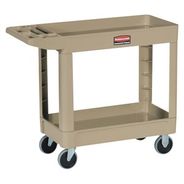"HD Utility Cart - Small 16""x30""Flat HDL - 2 Shelf - Beige, 1/EA"