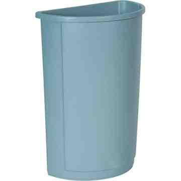 Half Round Waste Container 21G - Gray, 4/EA