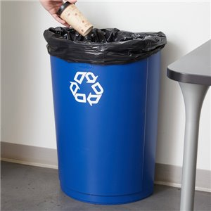 Half Round Container w/Recycle 21G - Blue, 4/EA