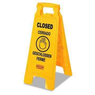 "Floor Sign w/Multi-Lingual Closed Imprint 2-Sided 25""H, 6/EA"